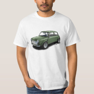 Classic British Racing Green Mini Car on T-Shirt