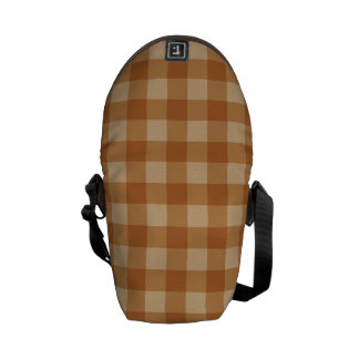 Classic brown plaid checkered cloth courier bag