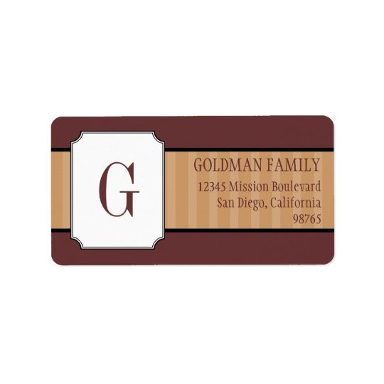 Classic brown stripes monogram return address label