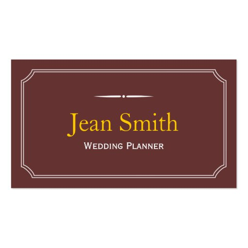 Classic Brown Wedding Planner Business Card