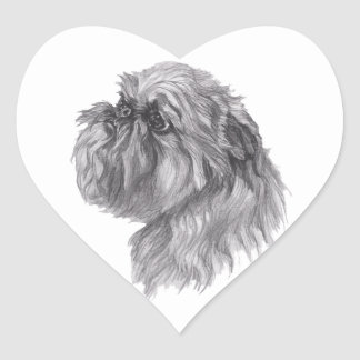 Classic Brussels Griffon  Dog profile Drawing Heart Sticker