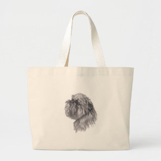 Classic Brussels Griffon  Dog profile Drawing Large Tote Bag