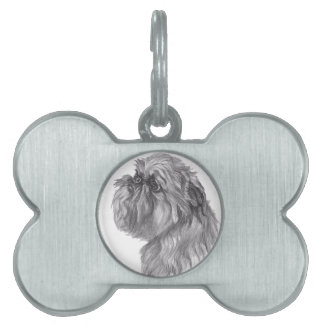 Classic Brussels Griffon  Dog profile Drawing Pet ID Tag