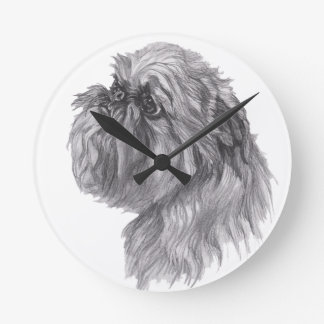 Classic Brussels Griffon  Dog profile Drawing Round Clock