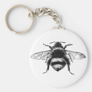 Classic Bumble Bee Basic Round Button Key Ring