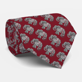 Classic burgundy and grey ornamental elephants tie