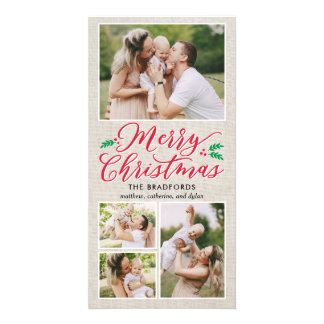 Classic Burlap Merry Christmas Holiday Photo Card