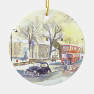 Classic Bus and Car ornament. Ceramic Ornament