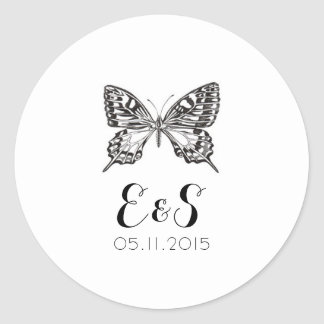 Classic Butterfly Wedding Invitation Stickers