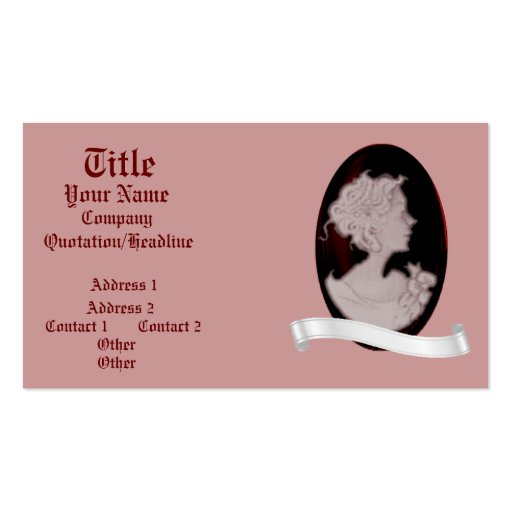 Classic Cameo (Rose) (Wedding) Business Card Templates
