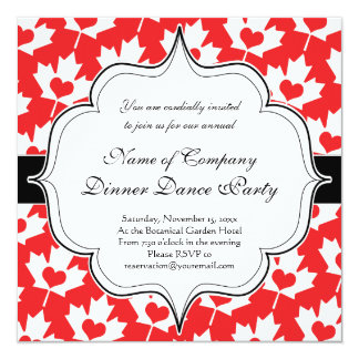 Classic Canadian Flag Maple Leaf with Heart 13 Cm X 13 Cm Square Invitation Card