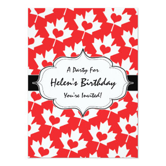 """Classic Canadian Flag Maple Leaf with Heart 5.5"""" X 7.5"""" Invitation Card"""
