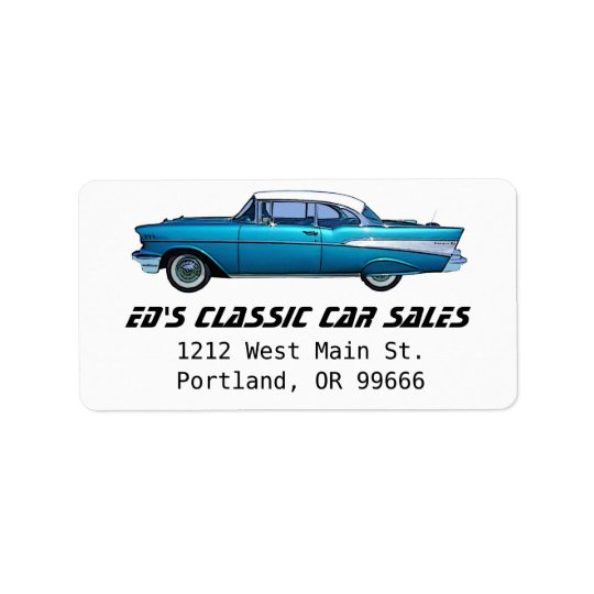 Classic car 1957 Chevy BelAire Address Label