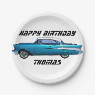 Classic car 1957 Chevy BelAire custom paper plate 7 Inch Paper Plate