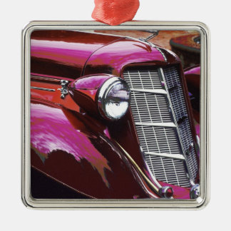 Classic car: Auburn Silver-Colored Square Decoration