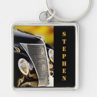 Classic Car Black Tie and Tails with Name Silver-Colored Square Key Ring
