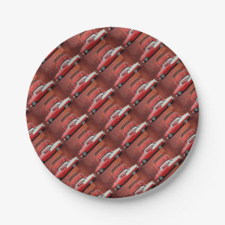 Classic Car Chevy Bel Air Dodge Red White Vintage 7 Inch Paper Plate