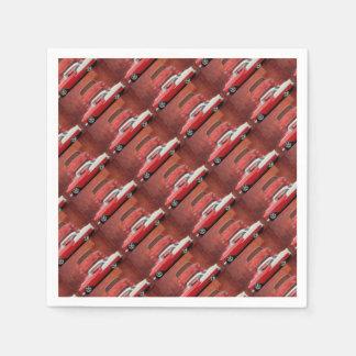Classic Car Chevy Bel Air Dodge Red White Vintage Disposable Serviettes