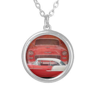 Classic Car Chevy Bel Air Red Vintage Oldtimer Silver Plated Necklace