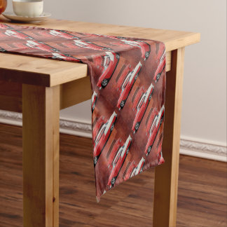 Classic Car Chevy Bel Air Red White Vintage Dodge Short Table Runner