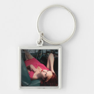 Classic Car Girl Be Lair Pin Up Beauty Pink Dress Key Ring