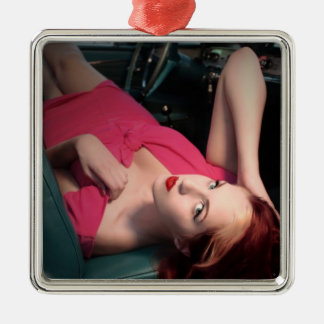 Classic Car Girl Be Lair Pin Up Beauty Pink Dress Metal Ornament