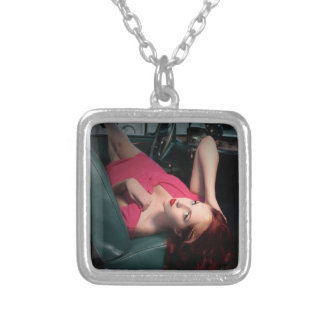 Classic Car Girl Be Lair Pin Up Beauty Pink Dress Silver Plated Necklace