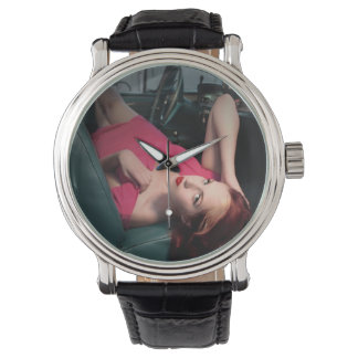 Classic Car Girl Be Lair Pin Up Beauty Pink Dress Watch