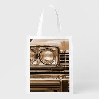 Classic Car Headlight Closeup Reusable Grocery Bag