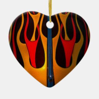 Classic Car Hood Flame Paint Ceramic Heart Decoration