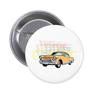 Classic car, old Chevrolet Bel Air in brown 6 Cm Round Badge