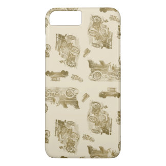 Classic Car Pattern in Shades of Brown iPhone 7 Plus Case