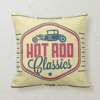Classic Car Retro Label Guy Cave Accent Pillows