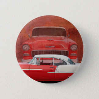Classic Cars Chevy Bel Air Dodge Red White Vintage 6 Cm Round Badge