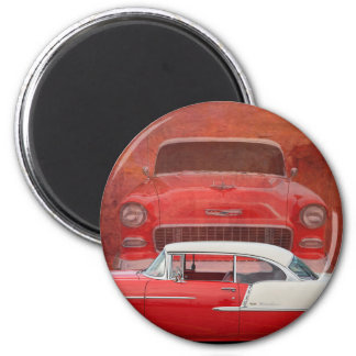 Classic Cars Chevy Bel Air Dodge Red White Vintage 6 Cm Round Magnet