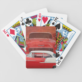 Classic Cars Chevy Bel Air Dodge Red White Vintage Bicycle Playing Cards