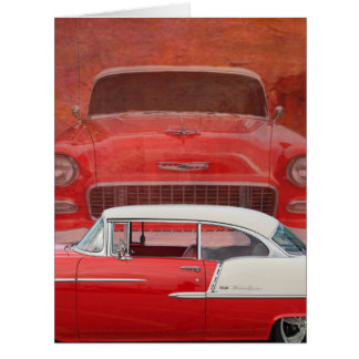 Classic Cars Chevy Bel Air Dodge Red White Vintage Card
