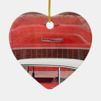 Classic Cars Chevy Bel Air Dodge Red White Vintage Ceramic Ornament