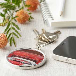 Classic Cars Chevy Bel Air Dodge Red White Vintage Key Ring