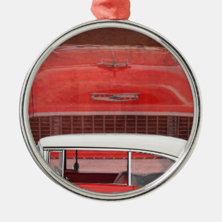 Classic Cars Chevy Bel Air Dodge Red White Vintage Metal Ornament