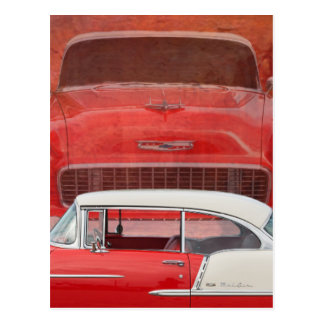 Classic Cars Chevy Bel Air Dodge Red White Vintage Postcard