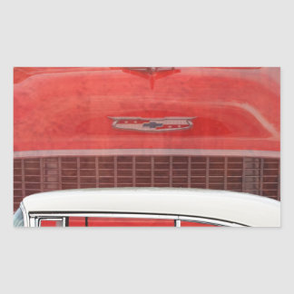 Classic Cars Chevy Bel Air Dodge Red White Vintage Rectangular Sticker