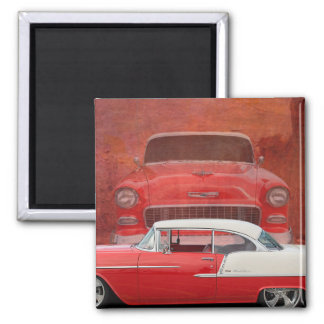 Classic Cars Chevy Bel Air Dodge Red White Vintage Square Magnet