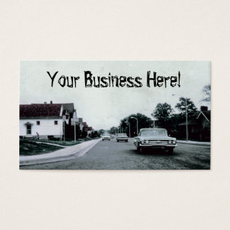 Classic Cars, Vintage Car Driving on Road Business Card