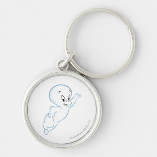 Classic Casper Pose 2 Silver-Colored Round Key Ring