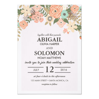 Classic Casual Floral Wedding Invitation Card