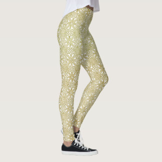 Classic Celtic Knot Wedding Gold & Green pattern Leggings
