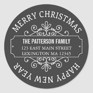 Classic Chalkboard Merry Christmas Label Round Sticker
