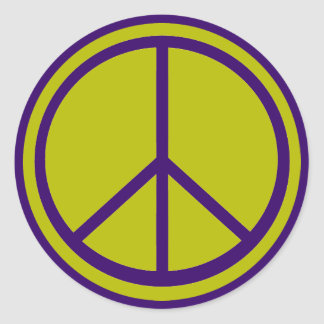 Classic Chartreuse Green Peace Sign Round Sticker