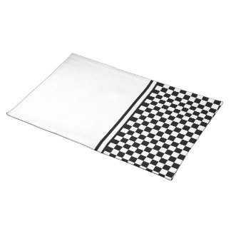 Classic Checkered Racing Check Black and White Place Mats